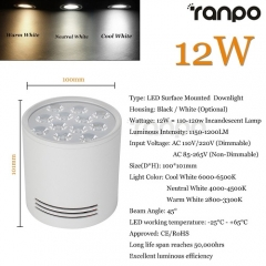 RANPO Dimmable 12W Black Shell LED Ceiling Downlight Surface Mounted Fixture 110V 220V