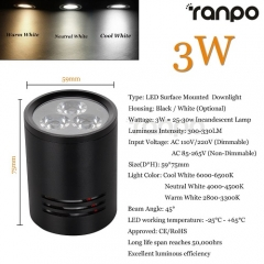 RANPO 3W Black Shell LED Ceiling Downlight Surface Mounted Fixture 85-265V