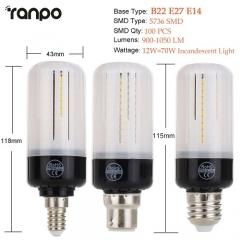 RANPO 12W E27 LED Corn Bulb Light  Lamp 5736 SMD AC110V 220V Bright