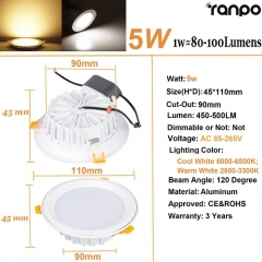 RANPO 5W LED Panel Downlight Recessed Ceiling Light Lamp Bulb AC 85-265V