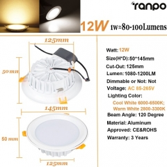 RANPO 12W LED Panel Downlight Recessed Ceiling Light Lamp Bulb AC 85-265V