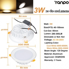 RANPO 3W LED Panel Downlight Recessed Ceiling Light Lamp Bulb AC 85-265V