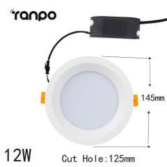 RANPO 12W LED Recessed Ceiling DownLight Fixture 5730 SMD Lamp Bright