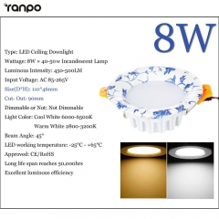 RANPO 8W LED Recessed Ceiling Downlight Fixture Cool Warm White Lamp Bright