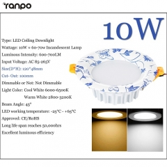 RANPO 10W LED Recessed Ceiling Downlight Fixture Cool Warm White Lamp Bright