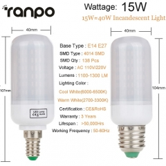 RANPO 15W E14 LED Corn Bulb Light 4014SMD White Lamp AC 220V