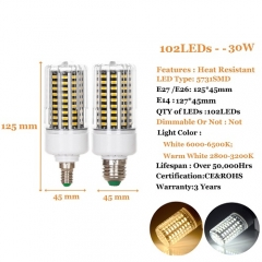 RANPO 30W E14 LED Corn Bulb Lamp 5731 SMD Bright Light AC 220V