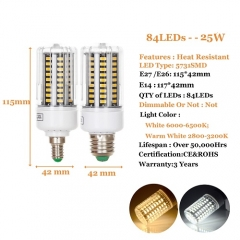 RANPO 25W E14 LED Corn Bulb Lamp 5731 SMD Bright Light AC 220V