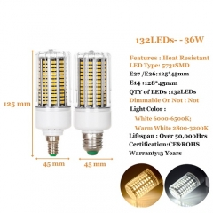 36W E14 LED Corn Bulb Lamp 5731 SMD Bright Light AC 220V
