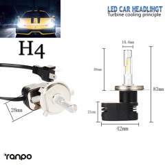 RANPO 2x H4 HB2 30W 4200LM Turbine LED Headlight Kit Bulb Seoul CSP Chip 6K All-in-one