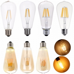 Ranpo Dimmable E27 ST64 LED Bulb Light Lamp 4W 6W 8W Edison Retro Vintage Lamps Decor Light Filament Bulb AC 220V 85-265V