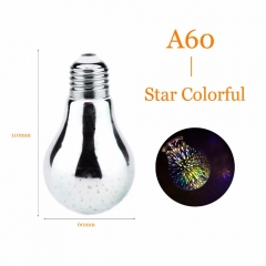 Ranpo 3D Star Silver Glass LED Edison Bulb E27 4W Colourful LED Lamp 220V Retro Filament  A60 Fireworks Ball Light for Home Bar party