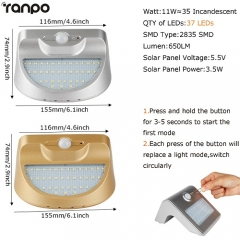 RANPO 11W Waterproof Solar Power LED Landscape Walkway Light Outdoor Lighting Garden Lamp