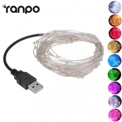 Ranpo LED Strip 5M 10M Fairy Light String USB 5V Powered Operated Metal Wire Outdoor indoor Holiday Christmas Wedding Party Decoration