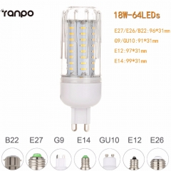 Ranpo 4014 SMD LED Corn Bulb E27 E26 E14 E12 B22 GU10 G9 High Power AC 85-265V 12W 18W 21W 25W LED Light Lamp No Flicker For Home Deor