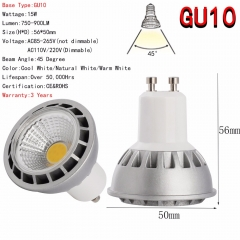 Ranpo E27 GU10 MR16 LED COB Spotlight Dimmable15W Spot Light Bulb Ultra Bright Lamp DC 12V 110V 220V Or 85-265V Warm Cool White
