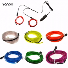 RANPO 2x 1M EL Wire Neon Rope LED Light Glow String Strip + Car Cigarette Controller  For Car Interior Decoration