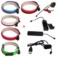 RANPO 6Pcs/Lots 1m 3V battery case Flexible Led tape Neon Light Glow EL Wire Rope Cable waterproof led strip lights for Shoes Clothing