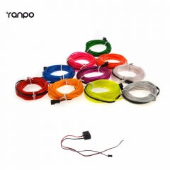 RANPO 5M 10 colors Neon LED EL Wire Lamp Glow String Lights Rope Tube For Home Car Dance Party decoration + 12V powered controller