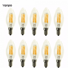 Ranpo 10 pcs/lots Retro C35 E12 E14 2W 4W Edison Filament Bulb LED Light Lamp Bulbs Candle Incandescent Lighting AC 110V 220V