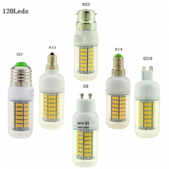 Ranpo E12 E14 E27 G9 GU10 B22 LED Corn Bulb 120LEDs Lamp Replace CFL 35W Compact Fluorescent Light 110V 220V Candle Light Spotlight