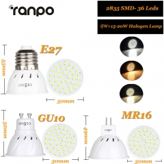Ranpo E27 MR16 GU10 LED Bulb Lamp AC 220V Bombillas LED Lamp Spotlight 36 54 72 LED 2835 Spot Lights Grow Plant Light 4W 6W 8W