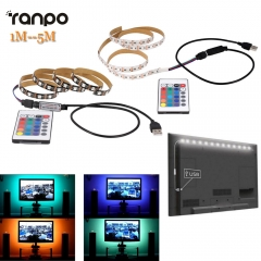 Ranpo 1M 2M 3M 4M 5M 5050 SMD RGB 60led/m Ribbon Tape Lamp DC 5V LED Strip RGB Light TV Back Lighting Kit + IR Remote Controller