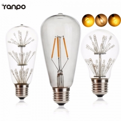 Ranpo Vintage Squirrel 3W E27 Incandescent Edison Globe Light Bulb A60 Clear Glass Tungsten Filament Lamp For home Lighting AC 220V