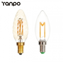 Ranpo E14 4W C35 Twill LED Light Bulb Lamp AC 220V Vintage Retro Filament Edison Antique Warm White Candle Lights For Home Decor