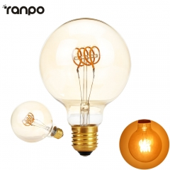 Ranpo G95 Dimmable Golden Edison bulb led E27 AC 220V 4W Spiral Light Amber Retro Saving Lamp Vintage Filament Bulb Ampul Led Lamp