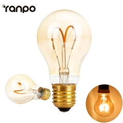 Ranpo LED Filament Bulb E27 4W AC 220V Clear Retro Edison Lamp light Incandescent lamp A60 Super bright LEDs Candle Lighting Lamprada