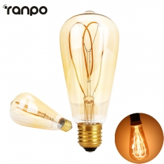 Ranpo 1PCS ST64 LED Vintage Lamp Bulbs Led Filament Butterfly 4W Diammable AC 220-240V Pendant Lamps Lighting Warm White 2700K