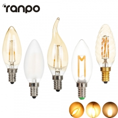 Ranpo E14 LED Bulb 2W 3W 4W Filament Bulbs C35 AC220V Led Candle Bulb Apoule for Vintage Chandelier Warm White