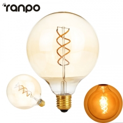 Ranpo G125 Dimmable Edison Filament Led Bulb E27 AC 220V Spiral light Amber Retro Saving Lamp Vntage Lamprada Led Light Chandelier