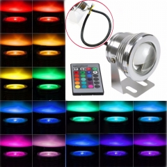 Ranpo 16 Colors 12V LED Waterproof Light RGB 10W Underwater IP68  Spot Light Lamp Pool Fountain Pool Garden +Remote Controller