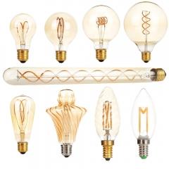 Ranpo Dimmable E27 AC 220V LED Edison Light Bulb Retro Carbon Lamp A60 T30 G80 ST64 G95 G125 Vintage Tungsten Indoor Lighting Decor