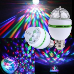 Ranpo E27 3W RGB LED Crystal Ball Rotating Stage Light Bulbs Disco Party Xmas Lamp