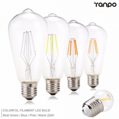 Ranpo Vintage LED Edison lamp E27 4W LED COB Filament Bulb Light Decor Lamps AC 220V Colorful Antique Retro led Lampen Candle light