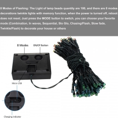 Ranpo Waterproof IP65 12M 3W RGB 100 LED Solar String Fairy Lights For Outdoor Xmas Decor USB charging