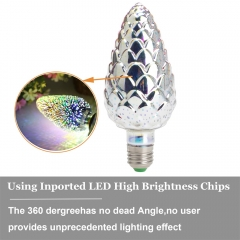 Ranpo LED 3D Fireworks Light Colorful Bulb E27 Festival Decorative Party Lamp 85V-265V