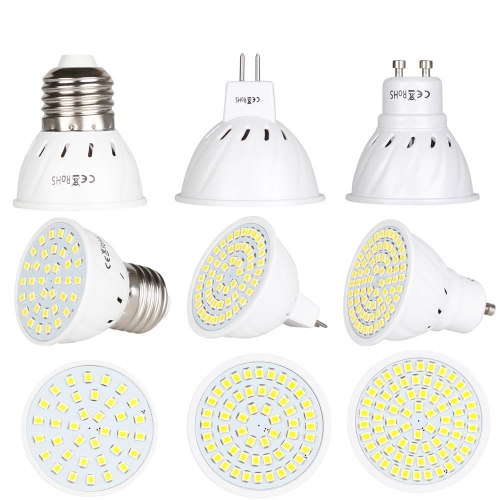 RANPO LED Spot Light Bulbs GU10 MR16 E27 3W 5W 7W 12V 24V 110V 220V 2835 SMD 36LEDS 54LEDS 72LEDS 15W 25W 35W Incandescent Equivalent Lamp Bright