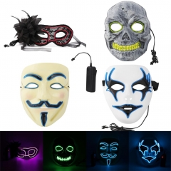 Ranpo HOT 4Styles Masks V for Vendetta Ghost Halloween Mask Party Costume Cosplay Masquerade NEON Rave EL Wire + Controller