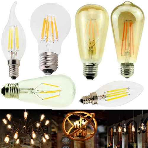 RANPO 6pcs/Lots E12 E27 E14 Dimmable G45 A60 LED Bulb Light Edison Retro Vintage Filament Lamps