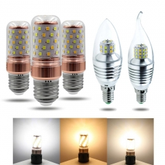 Ranpo 3 Colors E27 E14 LED Corn Bulb Candle Bulb Golden Aluminum Energy Saving AC220V 5W 7W 8W 12W 2835 SMD White Crystal Lamp