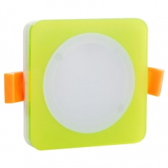 RANPO 7W Blue Color Square Green Shell LED Downlight CREE Recessed Spotlight 110V Ceiling Down Lights Bulbs Lamp 85-265V