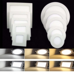 Ranpo 10PCS/Lots Super Bright Dimmable LED Ceiling Panel Lights 3W 6W 9W 12W 15W 18W Bulb Lamp Round& Square AC110V 220V Downlights