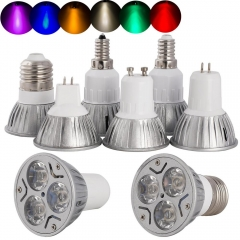 Ranpo 6PCS/Lots High Power E12 E27 E14 GU10 MR16 3W LED Spot Light Lamp DC12V AC85-265V LED Spotlight Bulb Lamp 7Colors