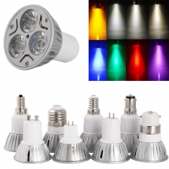RANPO 10X Wholesale 3W LED SpotLight Bulb E26/27 E14 E12 GU10 B22 MR16 High Power Lamp 12V Purple/Warm White/Red/Green/Blue/Yellow