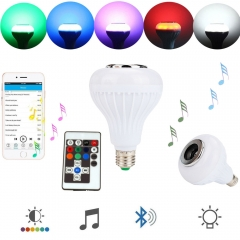 Ranpo Dimmable E27 Smart RGB Wireless Blue tooth Speaker Bulb Music Playing LED Bulb Light Lamp 12W Flash with 18 Keys Remote Control