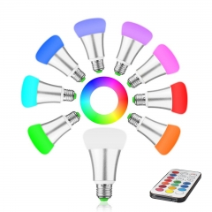 RANPO E27 RGB LED Bulb Light Stage Lamp 12 Colors 10W + 21 Keys Remote Control 85-265V